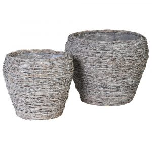 Set of Two Bamboo Planters