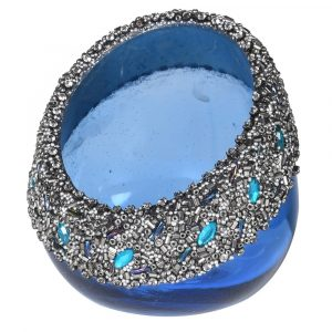 Blue Votive With Beads
