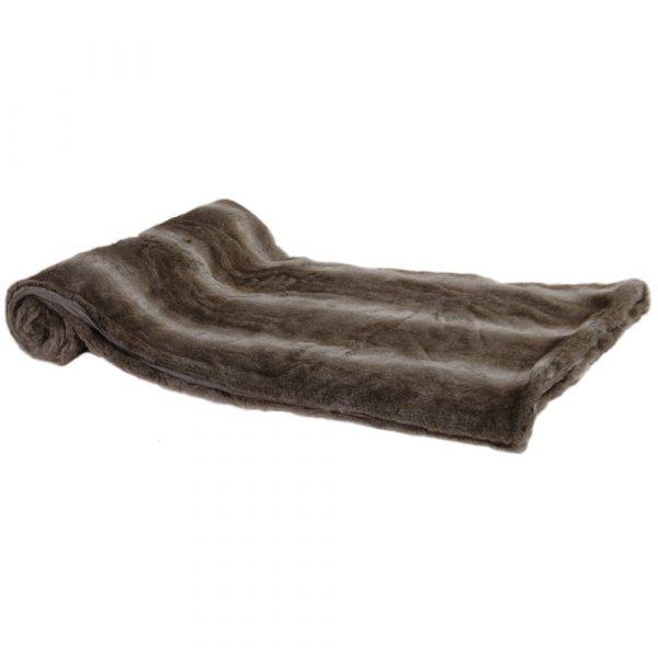 Chunky Striped Faux Fur Throw