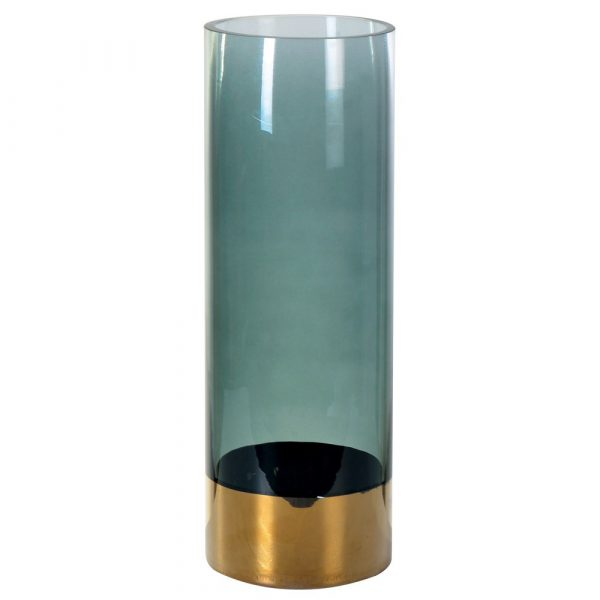 Grey Tall Vase With Gold Base