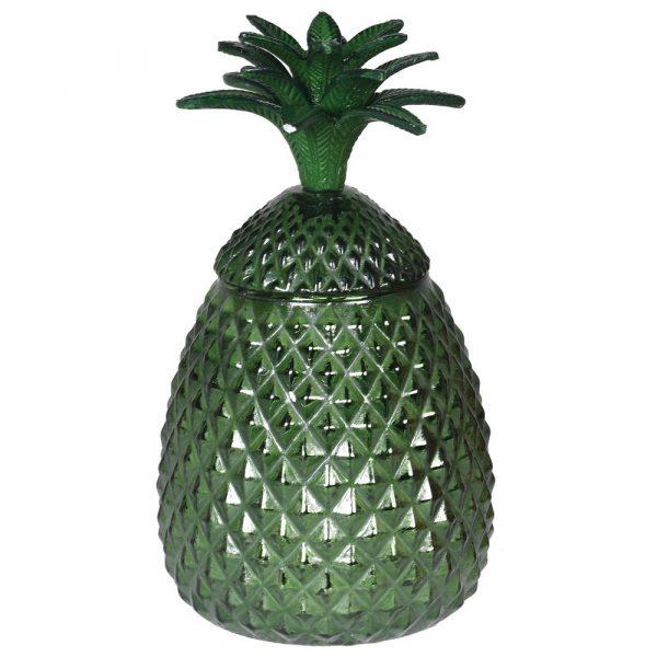 Green Glass Pineapple Jar