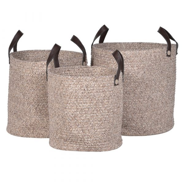 Set of 3 Rope Baskets With Handles