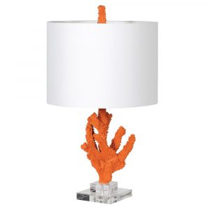 Orange 'Coral' Lamp With Linen Shade