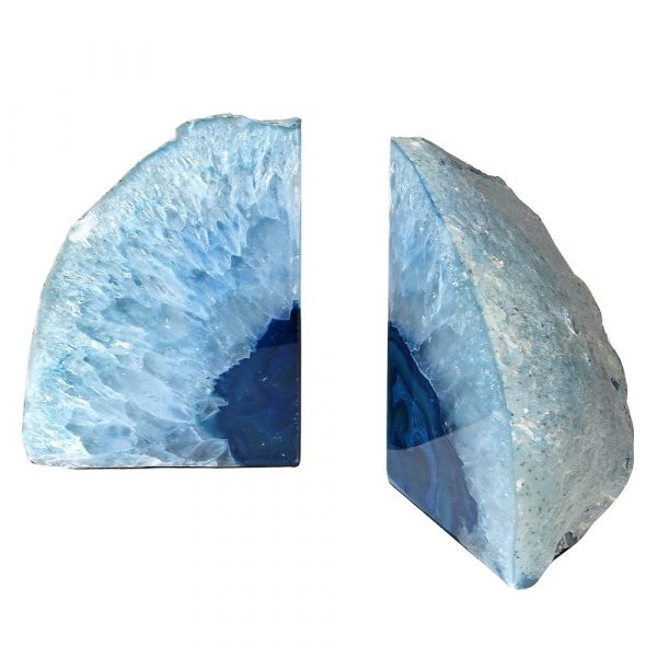Pair Blue Agate Bookends