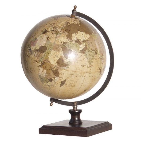 World Globe On Wooden Base