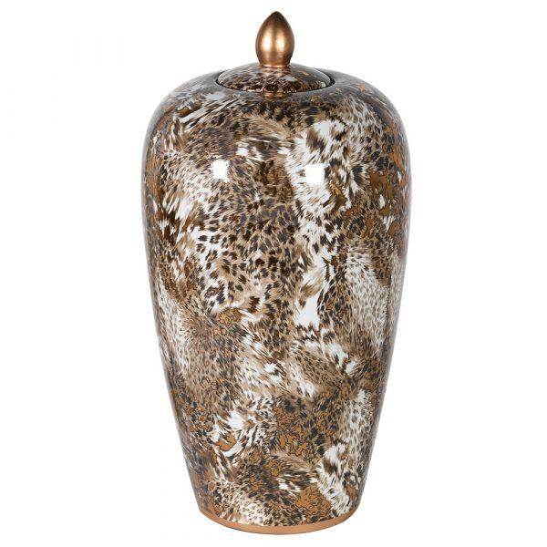 Large Lidded Leopard Jar