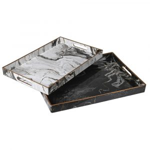 Set of 2 Marble Effect Trays