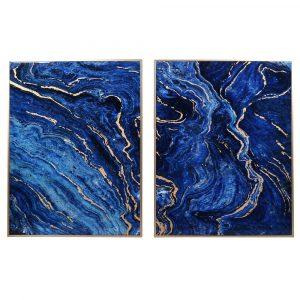 Set of 2 Framed Marble Effect Panels
