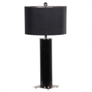 Black Cylinder Glass Lamp With Black Shade