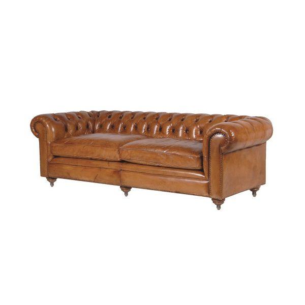 Hemingway Italian Leather 3 Seat Sofa