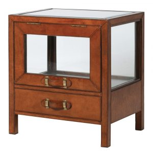 Hemingway Leather Glass Cabinet/Side Table