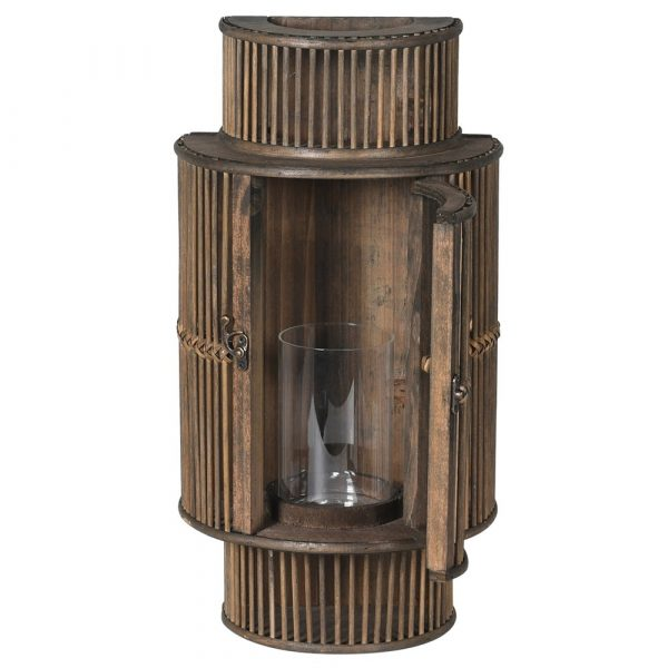 Blk Bamboo Curved Lantern