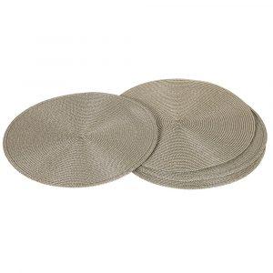 Set of 4 Round Grey Place Mat