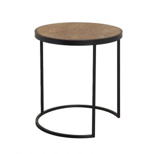 Portobello Wood Top / Black Iron Side Table