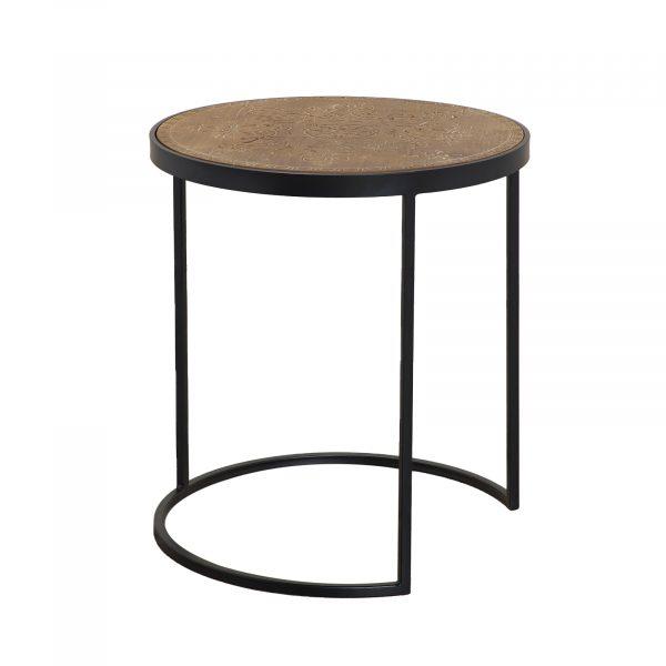 Portobello Wood Top / Black Iron Side Table