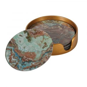Set of 4 Green Marble Effect Coasters