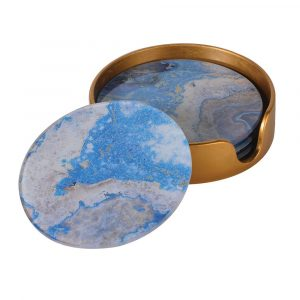 Set of 4 Blue Marble Effect Coasters