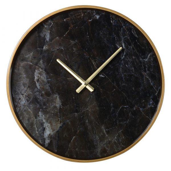 Black Marble Effect Wall Clock