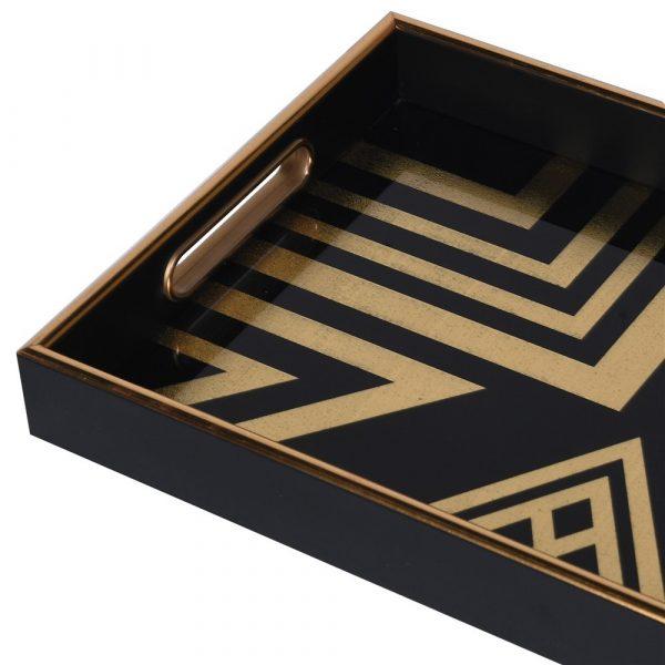 Art Deco Blk/Gold Square Tray