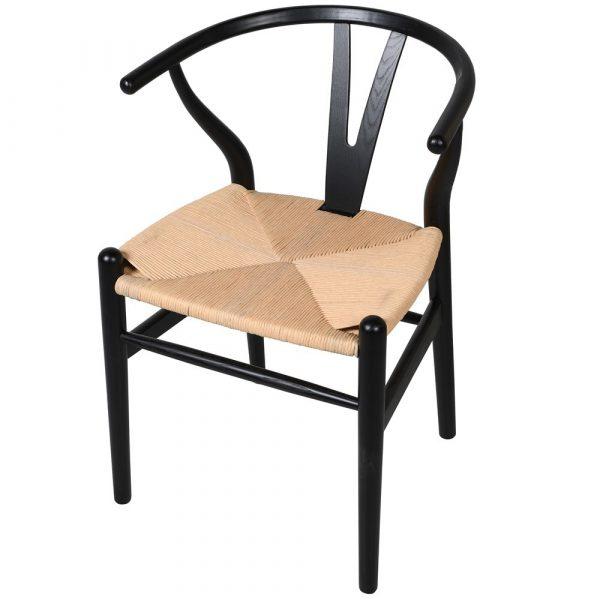 Portobello Elm Black Chair With Open Back