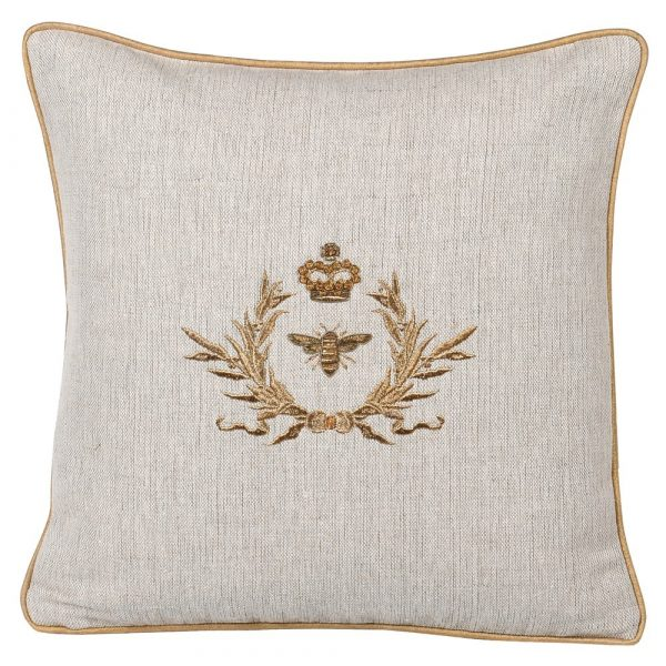 Gold Bee Emblem Cushion Cover In Zardozi Embroidery