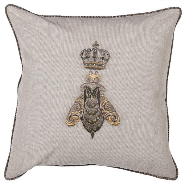 Beige Bee With Crown Cushion Cover