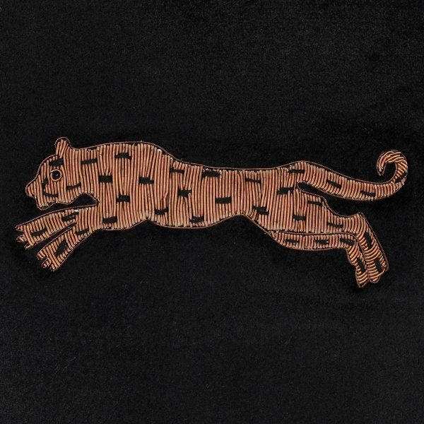 Leopard Cushion Cover With Zardozi Embroidery
