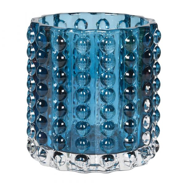 Dot Blue Glass Candle Holder