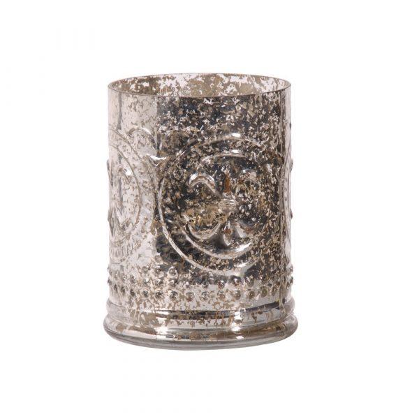 Silver Foil Glass Votive