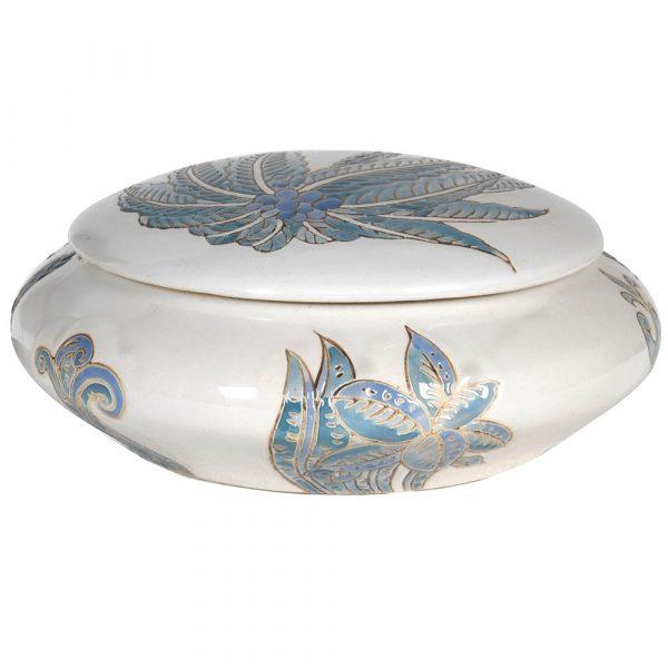 Blue Palm Lidded Jar