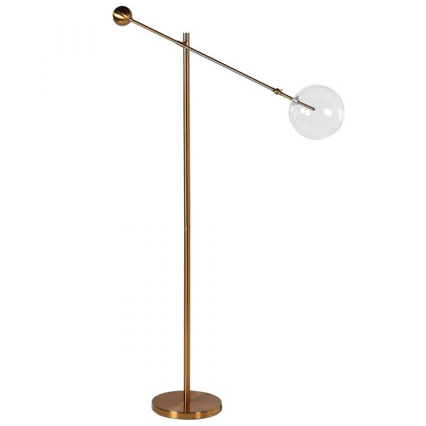 Gold Floor Lamp With Glass Orb Shade