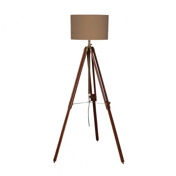 Dark Wood And Brass Tripod Lamp