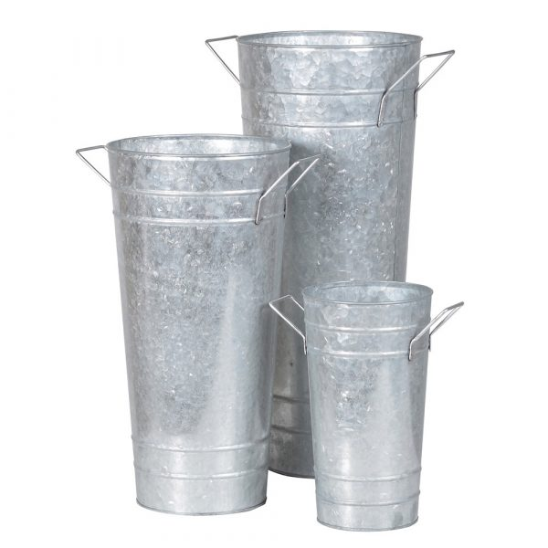 Set of 3 Metal Florist Buckets