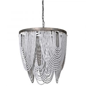 Whitewash Wooden Bead Ceiling Light