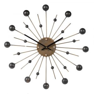 Gold Spike Black Ball Wall Clock