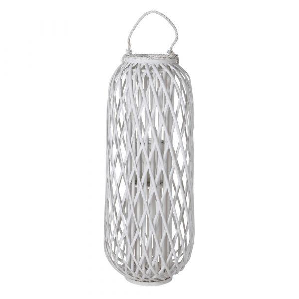 Large Distressed White Willow Lantern