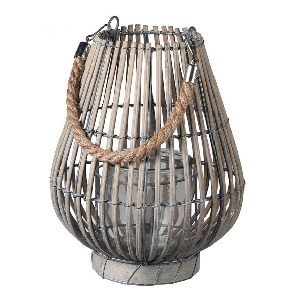 Small Light Grey Willow Lantern