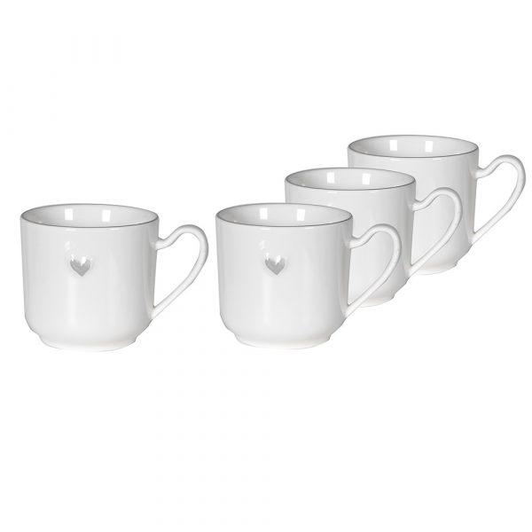 Set of 4 Grey Heart Mugs