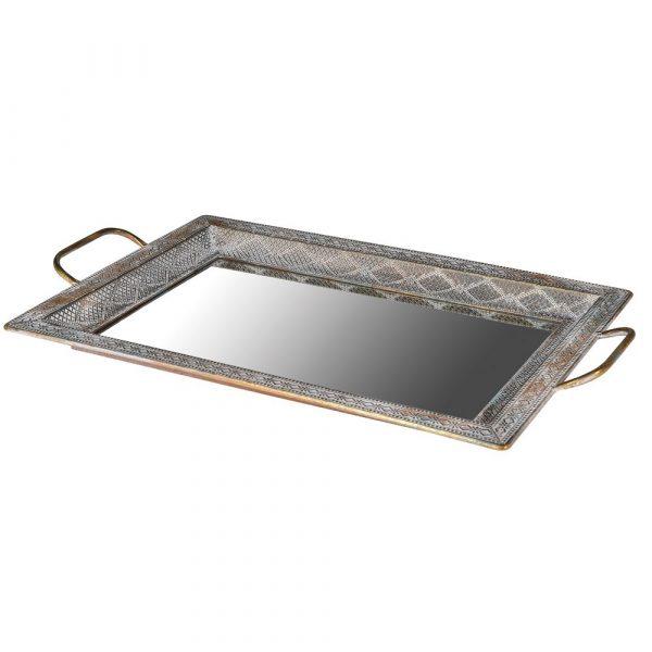 Filigree Square Mirrored Tray