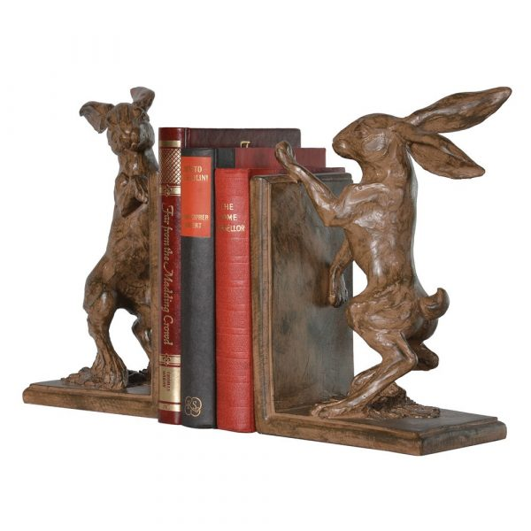 Pair Boxing Hare Bookends