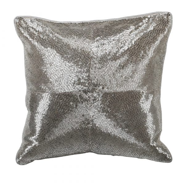 Silver Hand Embraided Cushion Cover