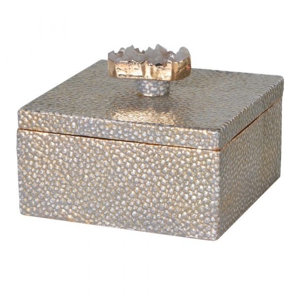 Small Gold Faux Shagreen And Agate Decorated Box