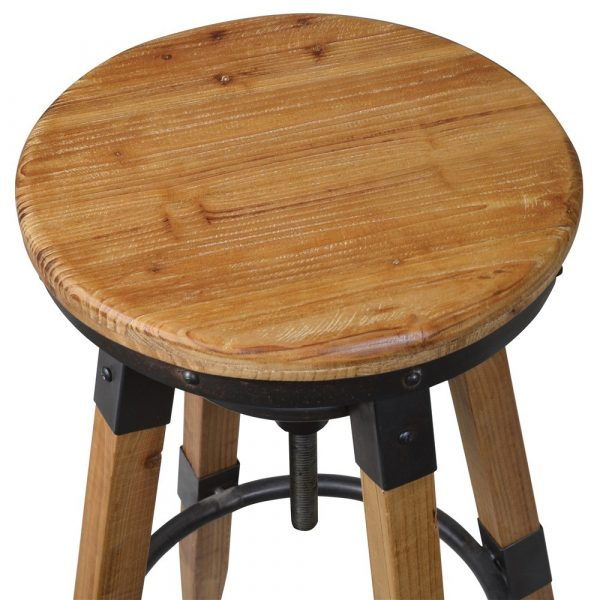 Camden Wood And Metal Bar Stool