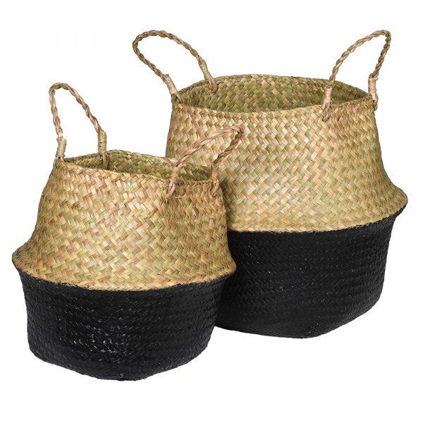 Set of 2 Black & Natural Seagrass Baskets