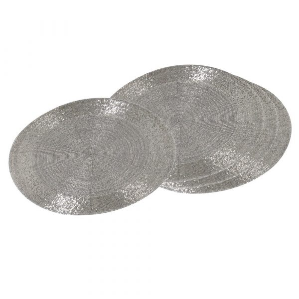 Set of 4 Silver Beaded Placemats
