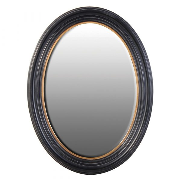 Large Black And Gold Oval Mirror