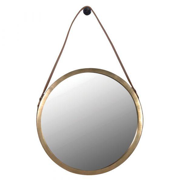 Saddle Leather Round Mirror