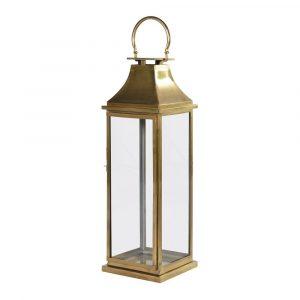 Antiqued Brass Tall Lantern