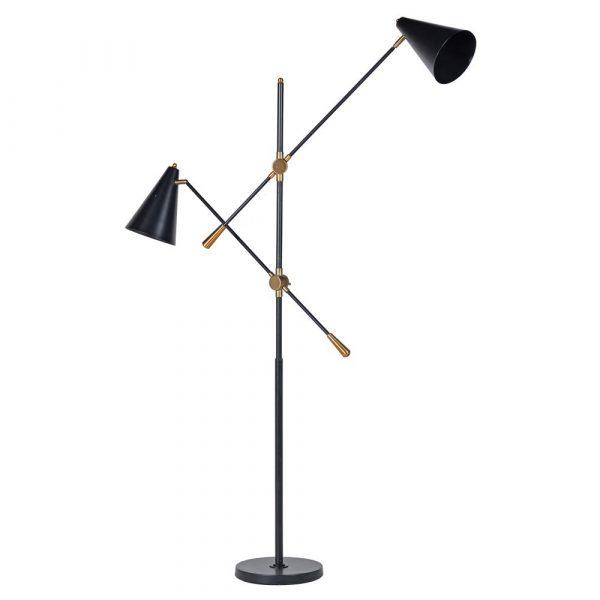 Black Metal Twin Lamp On Stand