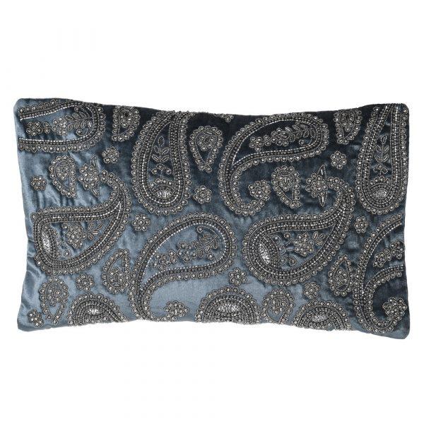 Blue Velvet Bead Cushion Cover